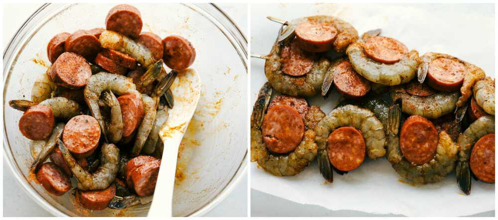 How to make Easy and Amazing Cajun Shrimp and Sausage Skewers