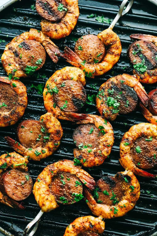 Grilling Cajun Shrimp and Sausage Skewers