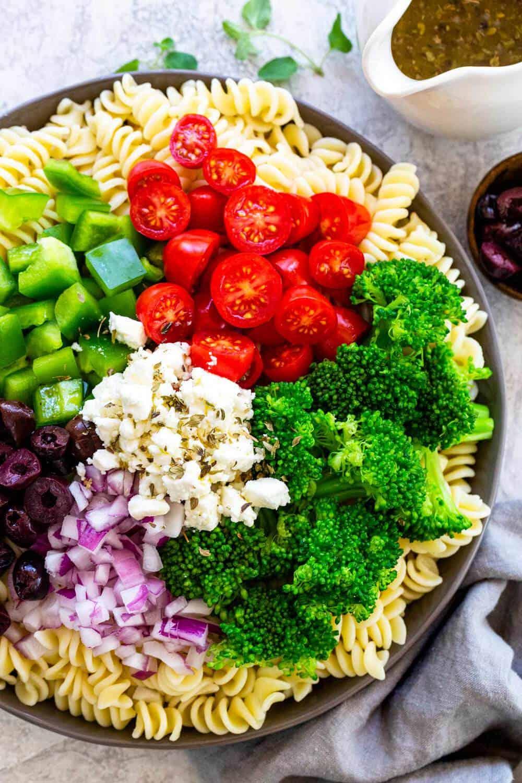 Greek Broccoli Pasta Salad ingredients
