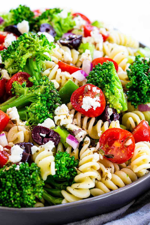 close up of Greek Broccoli Pasta Salad