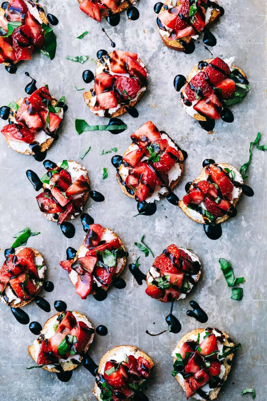 Strawberry bruschetta on a pan