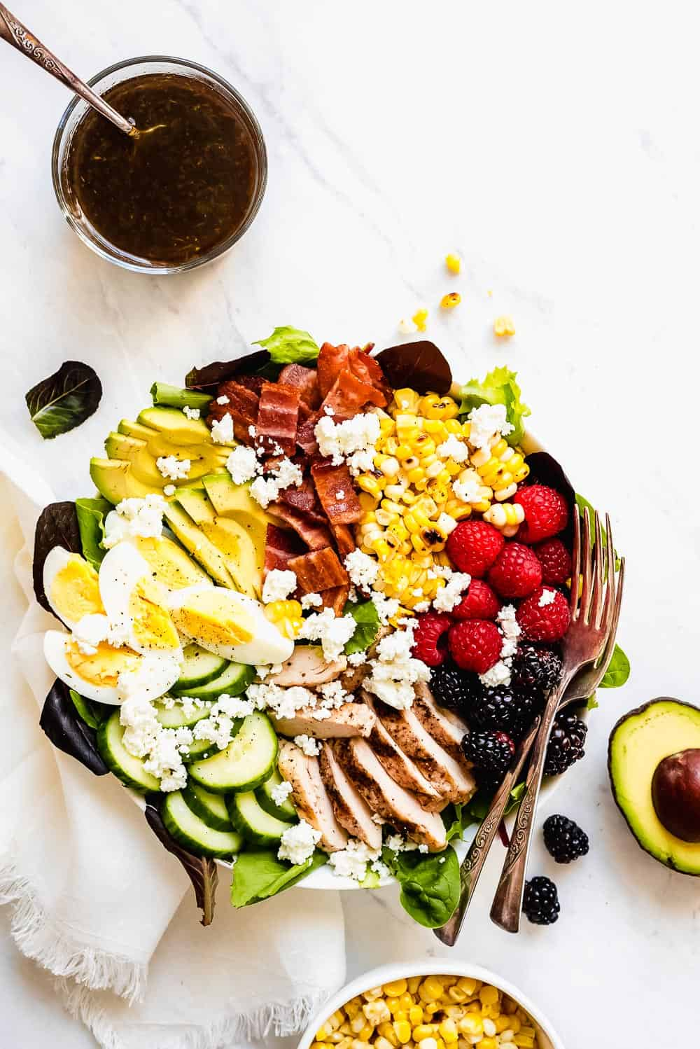 Summer cobb salad in a bowl.