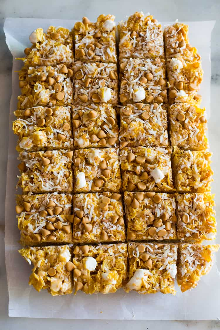 Butterscotch bars cut into servings.