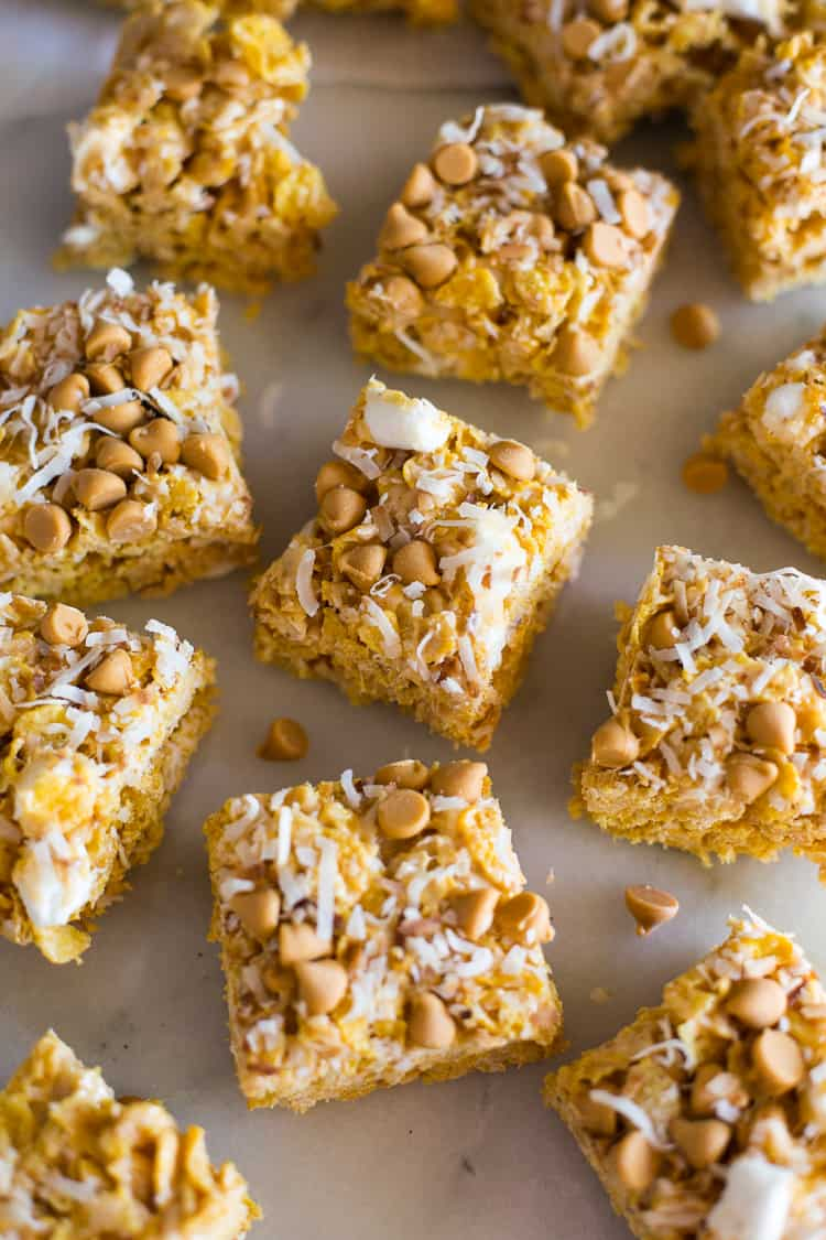 Butterscotch bars in rows.