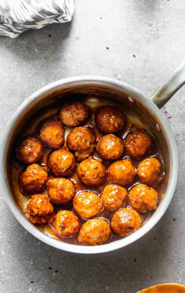 Chipotle Honey Meatballs in a saucepan