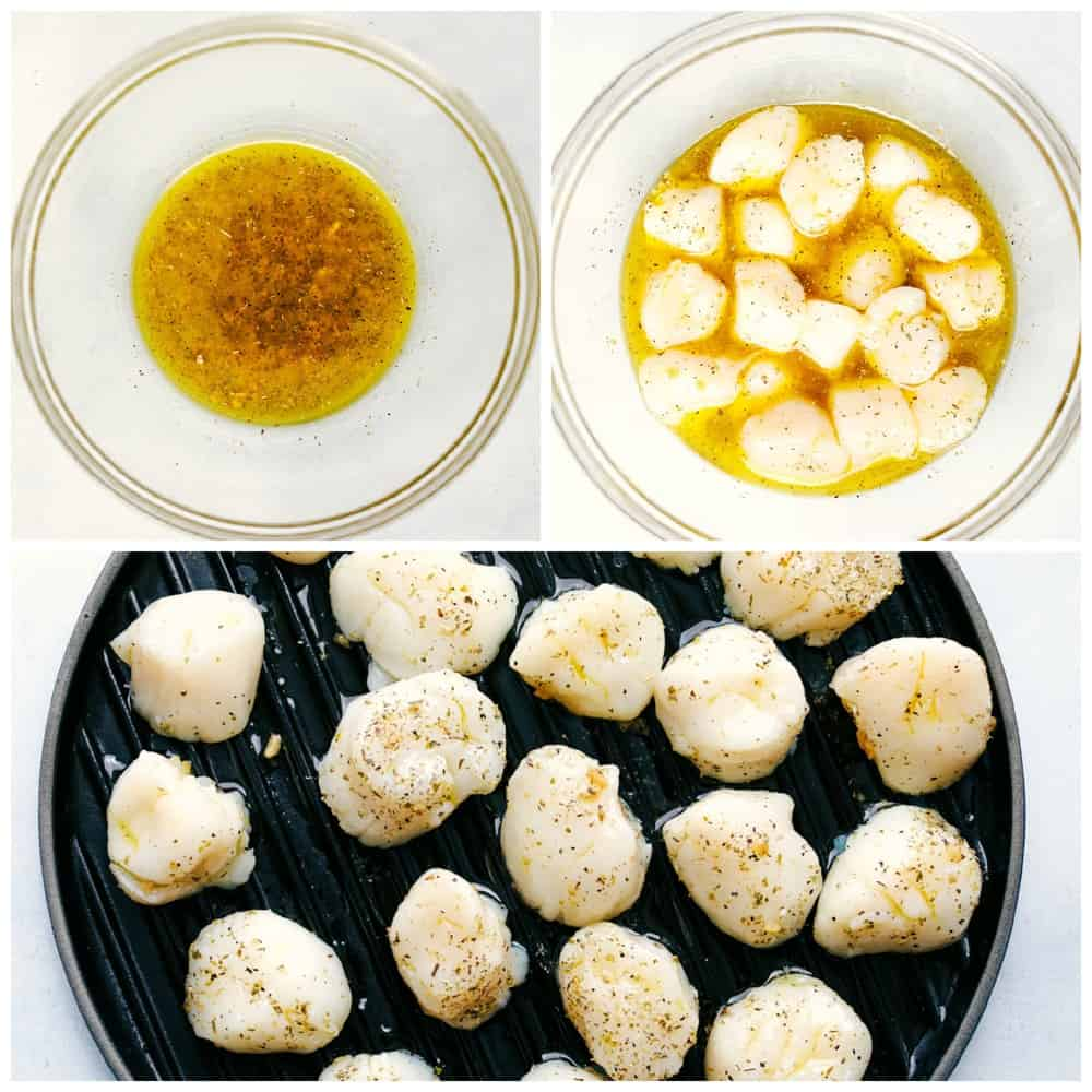 Grilled Lemon Garlic Scallops marinating