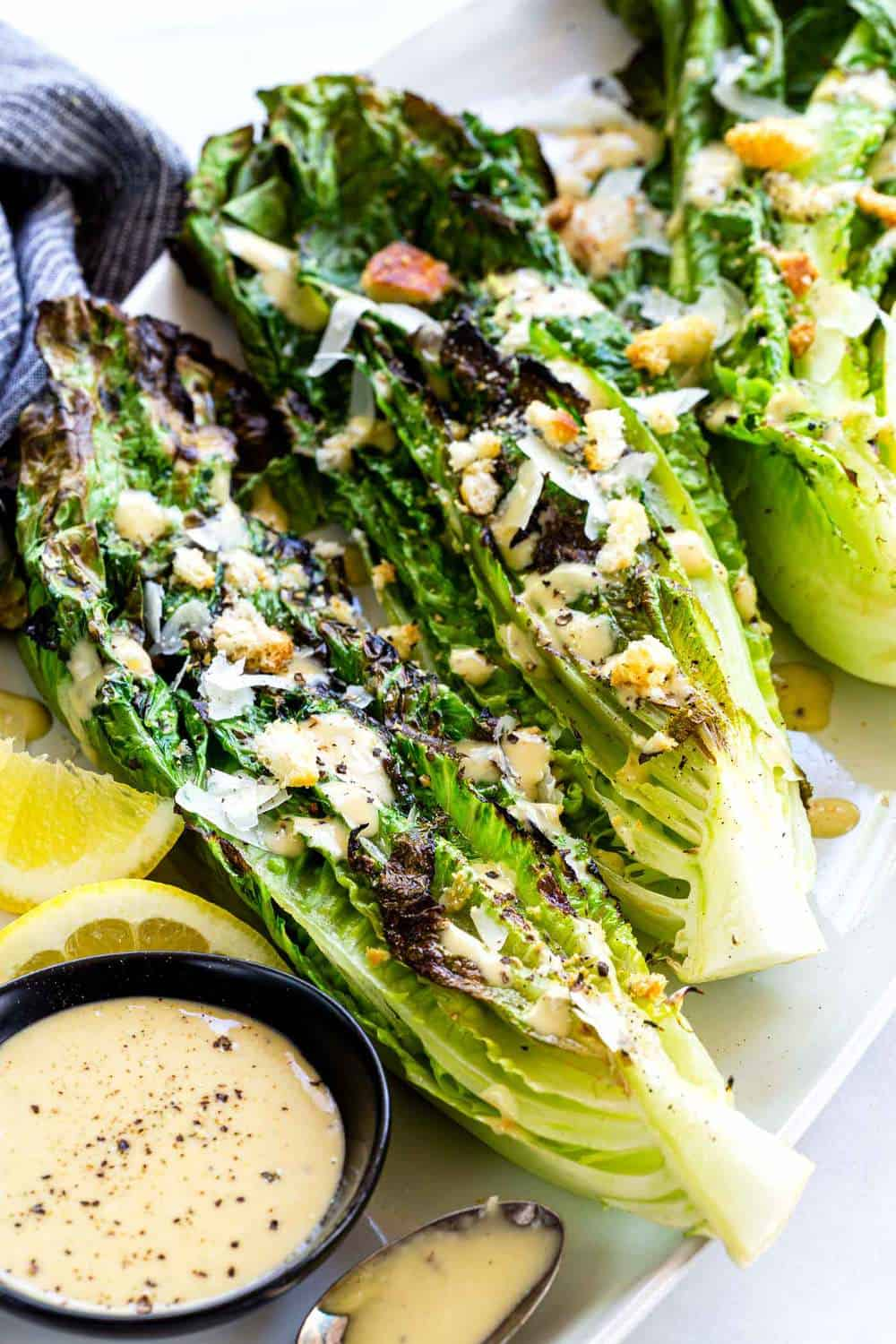 Grilled Caesar Salad with croutons on top