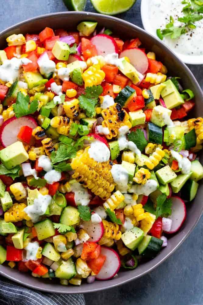 Grilled Corn Salad with Creamy Lime Dressing