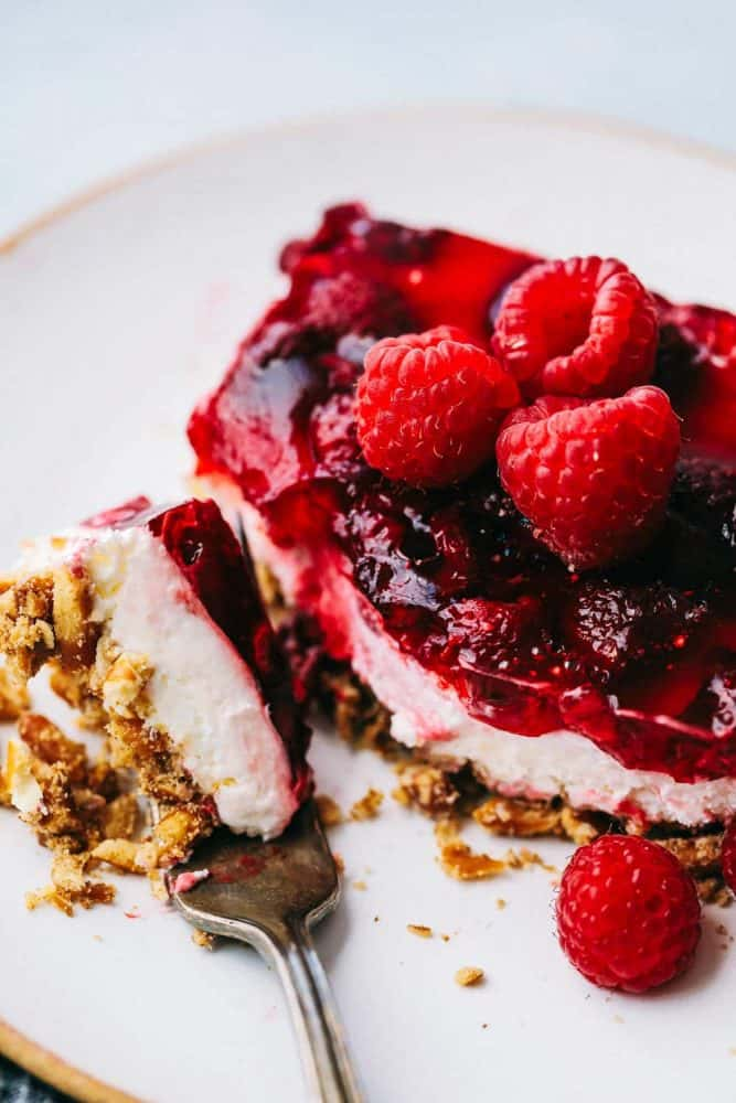 Raspberry Pretzel Salad on a plate