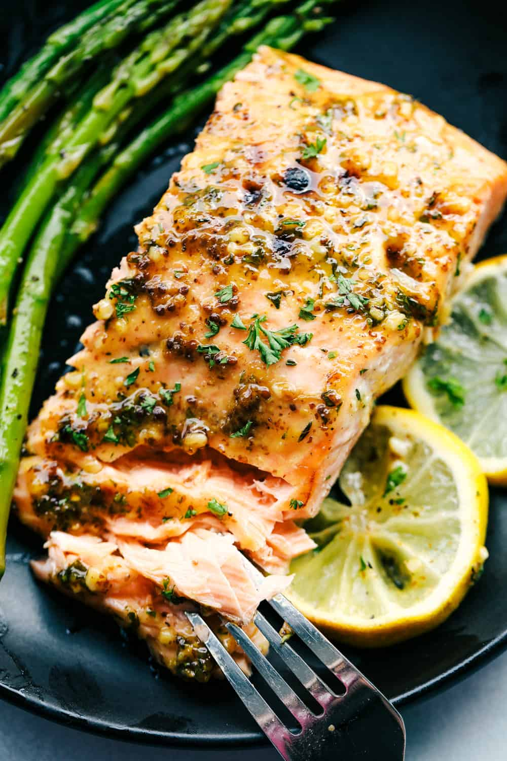 Honey garlic dijon broiled salmon with asparagus