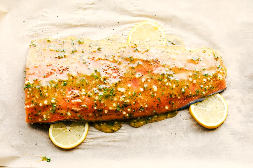 honey garlic dijon broiled salmon on a sheet pan