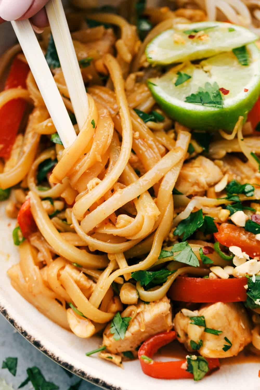 Pad Thai noodles up close photos.
