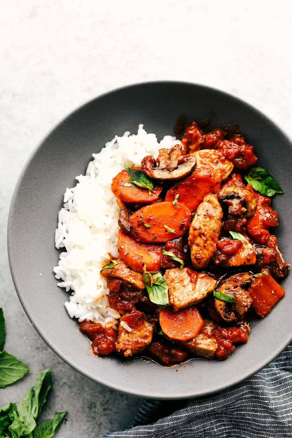skillet pork cacciatore over rice