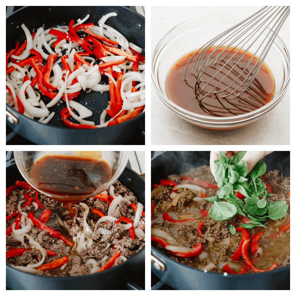 4 images showing the steps to making Thai basil beef.