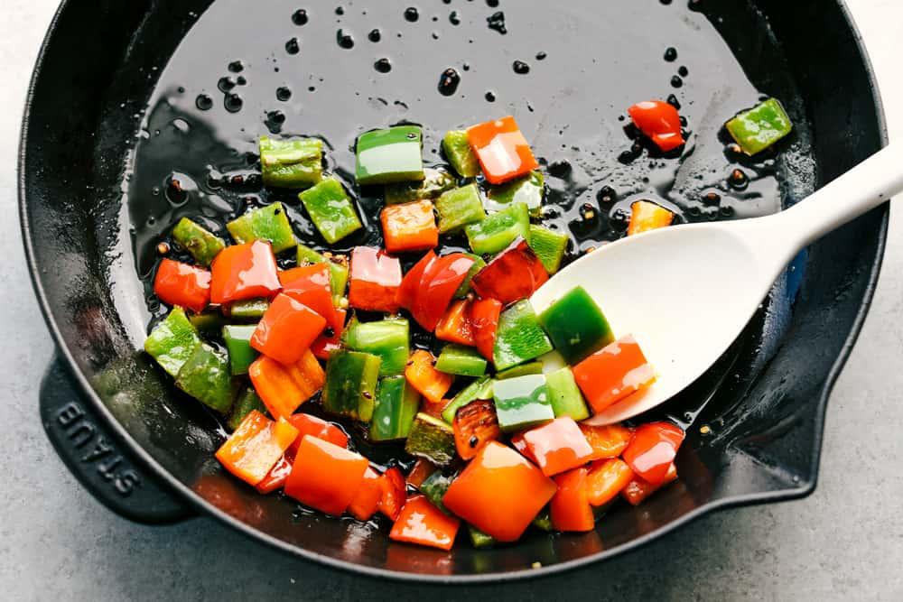 bell peppers sautéing