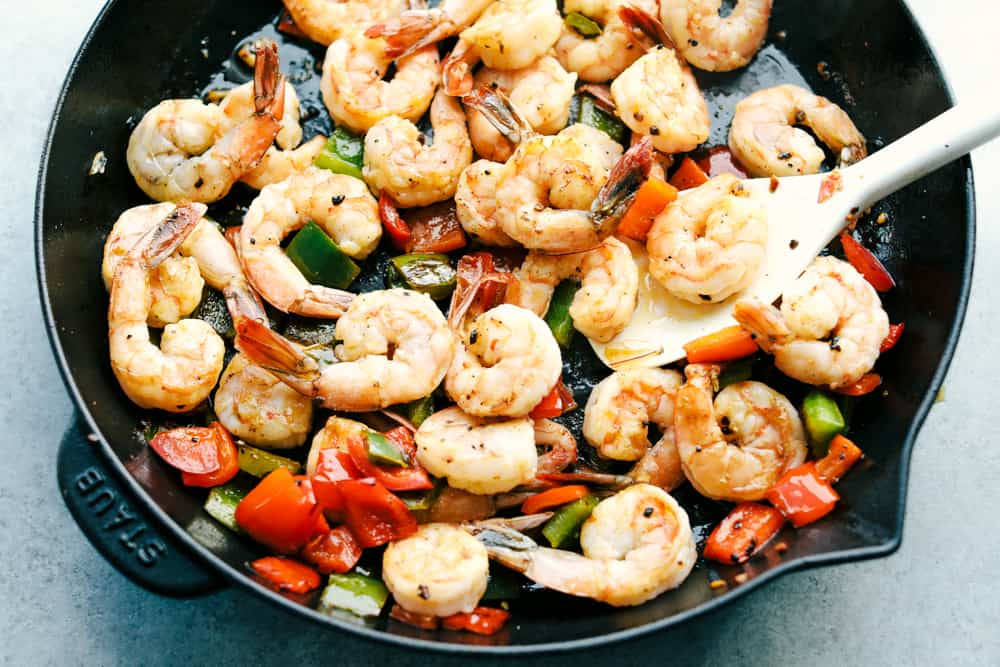 shrimp and bell peppers sautéing together