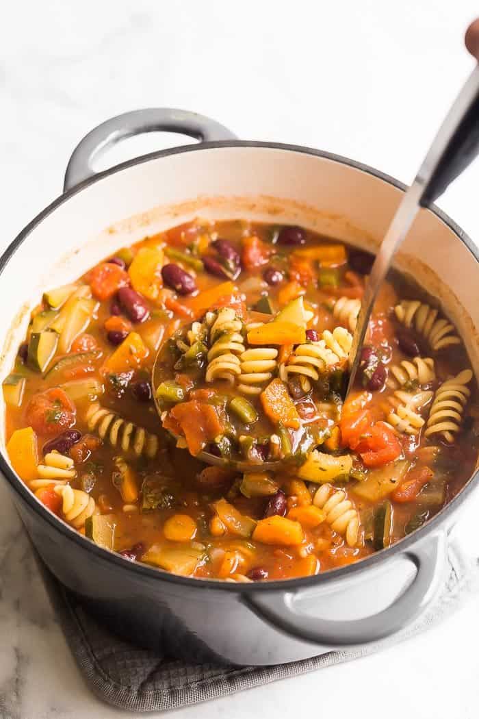 minestrone soup in pot