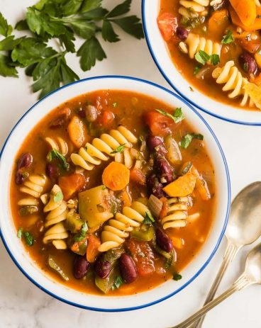 minestrone soup bowls overhead