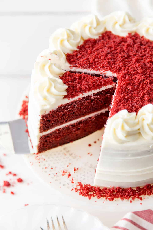 Red velvet cake on a cake stand