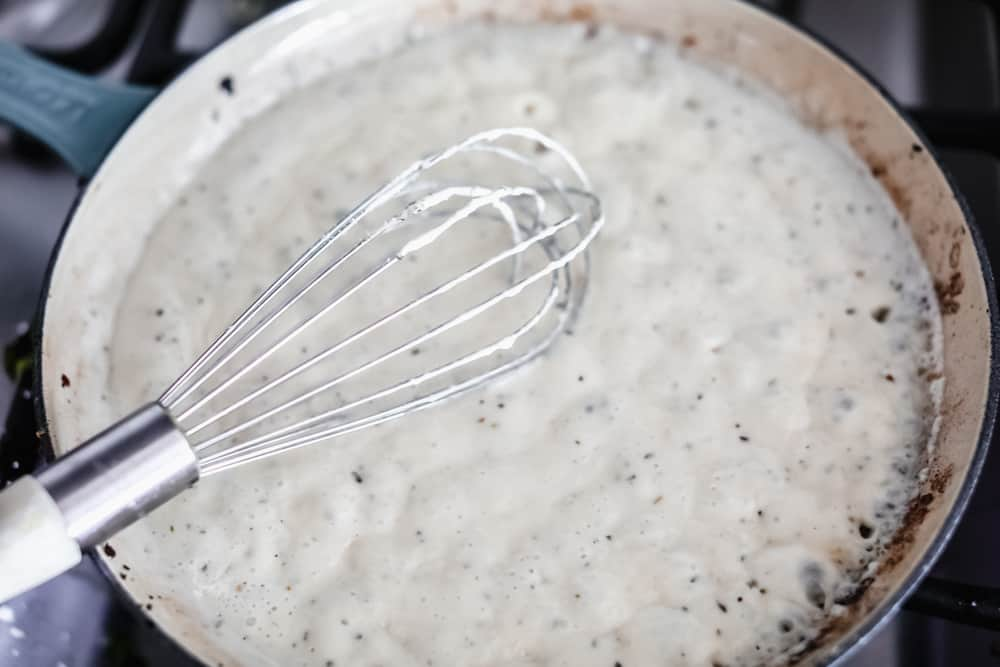 Creamy sauce sautéing