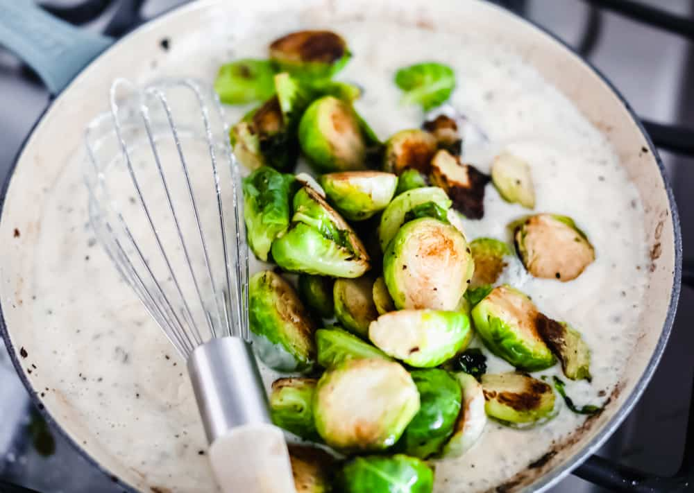 Creamy parmesan garlic brussel sprouts