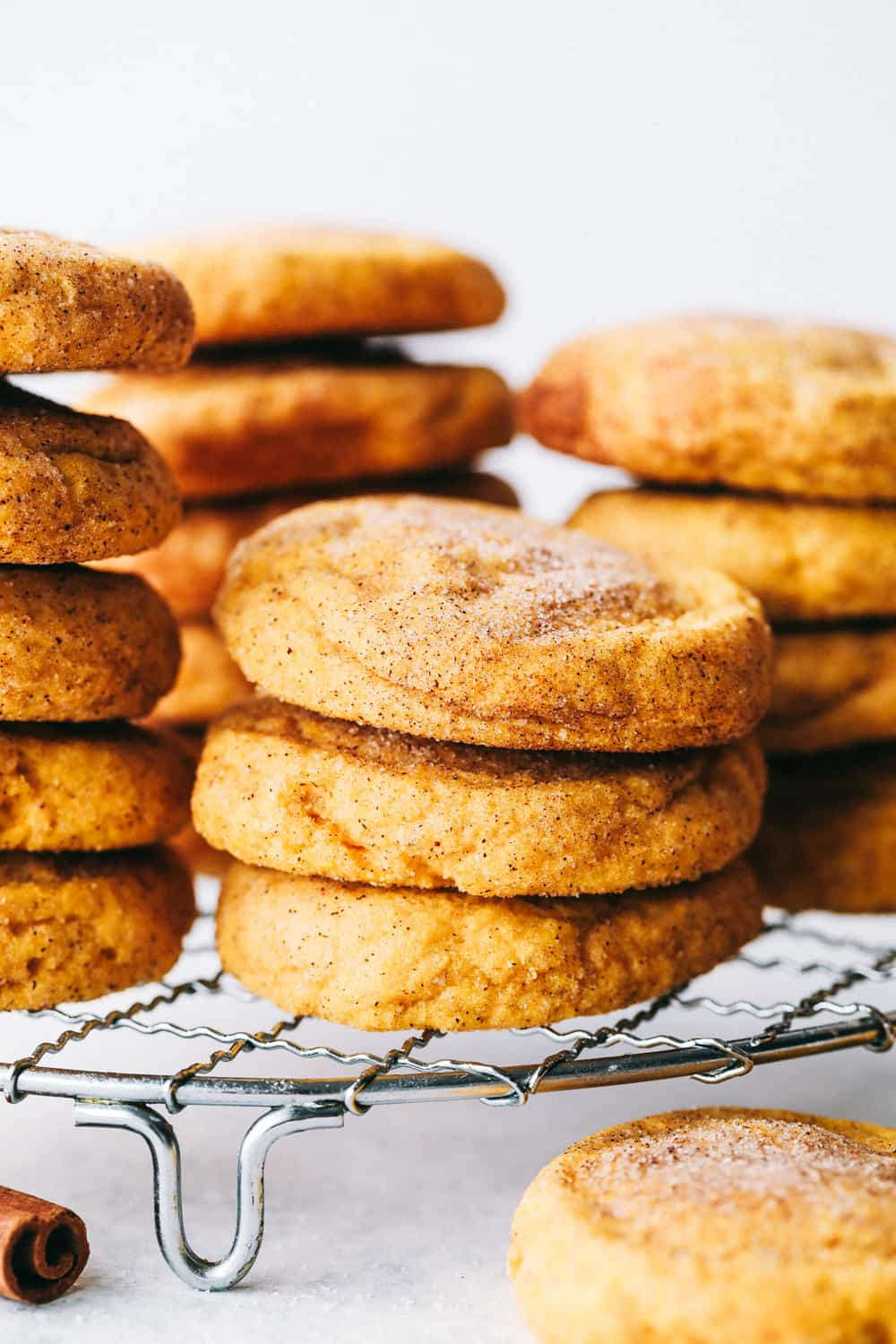 soft and puffy pumpkin snickerdoodles