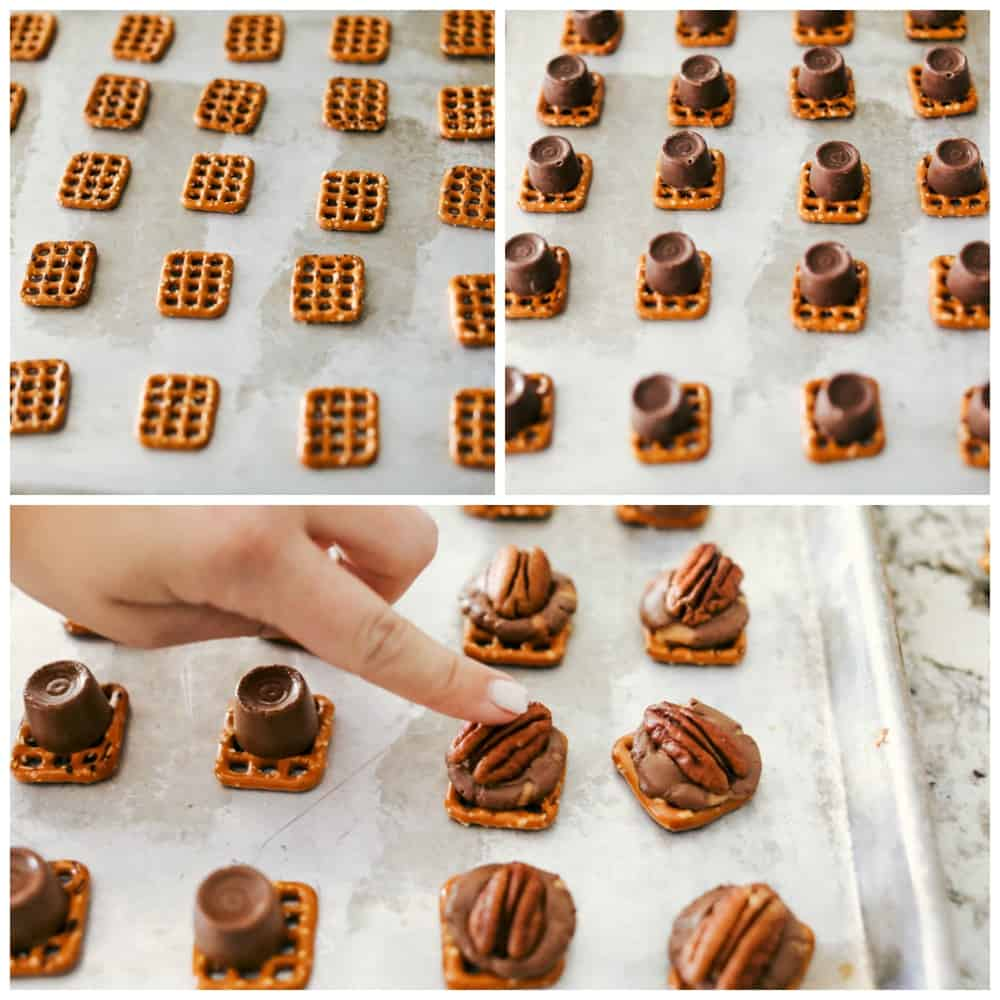 preparing and making rolo pretzel turtles