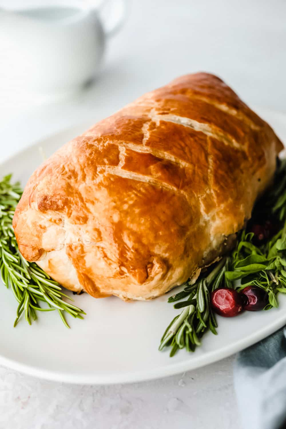 Beef Wellington baked on a plate