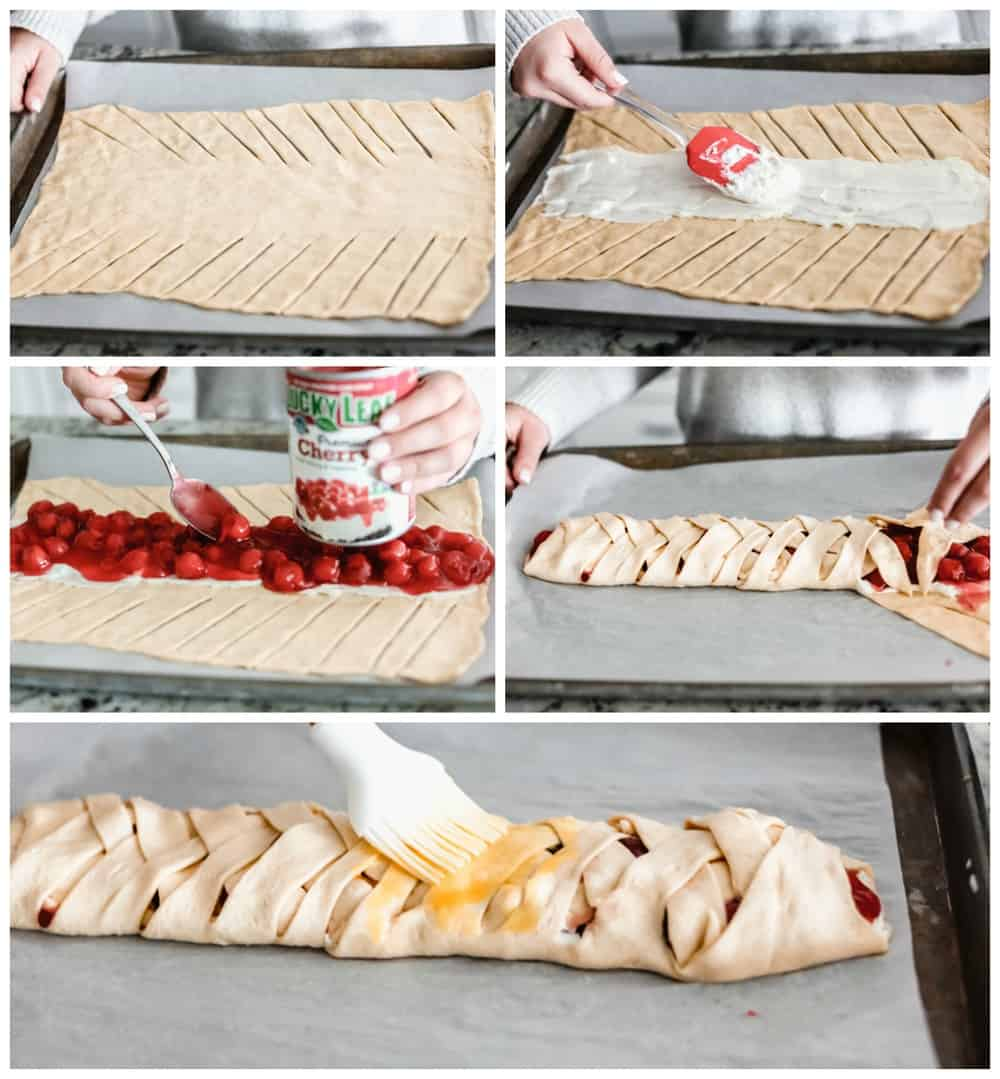 Steps to making cherry almond cream cheese breakfast braid