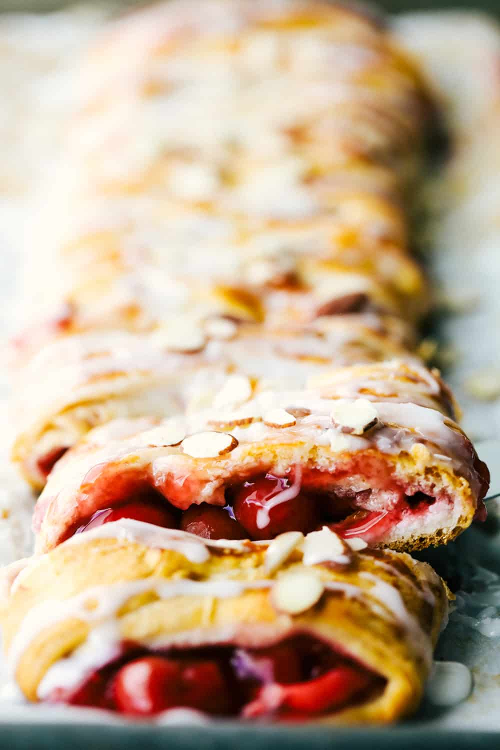 Cherry almond cream cheese breakfast braid