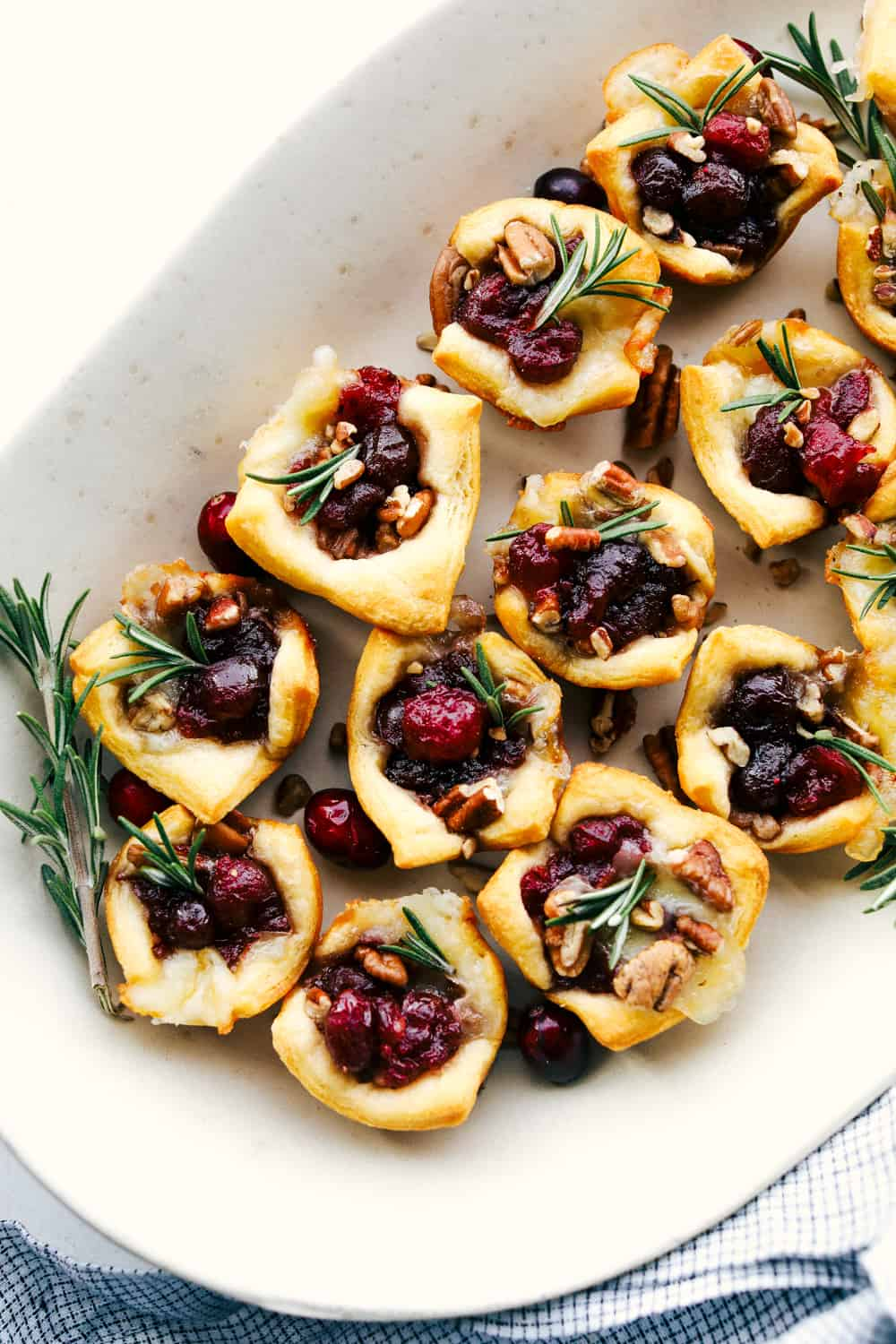 Cranberry Pecan Brie Bites on a plate
