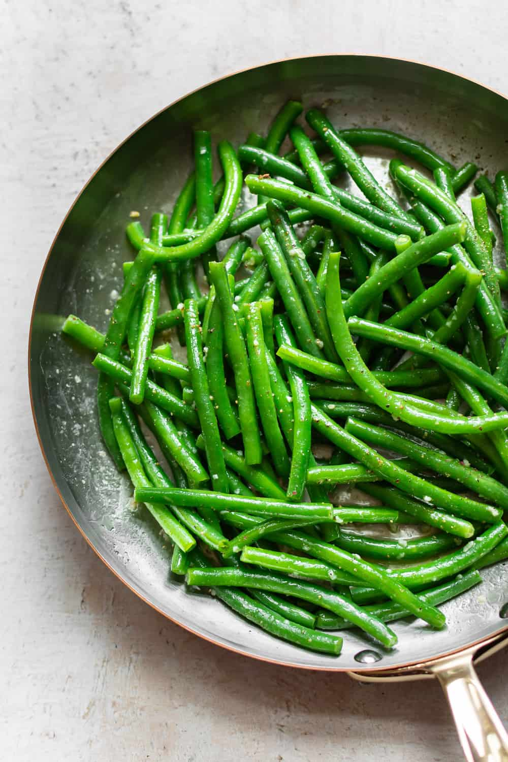 Garlic butter String Beans (green beans) in a pan