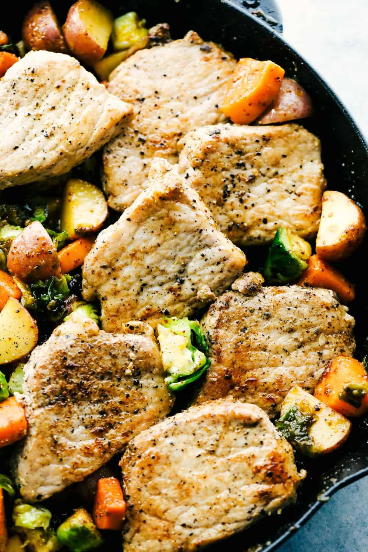 skillet pork chops with maple dijon vegetables