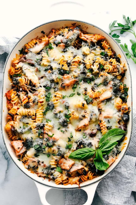 Turkey Mediterranean casserole in the white dish.