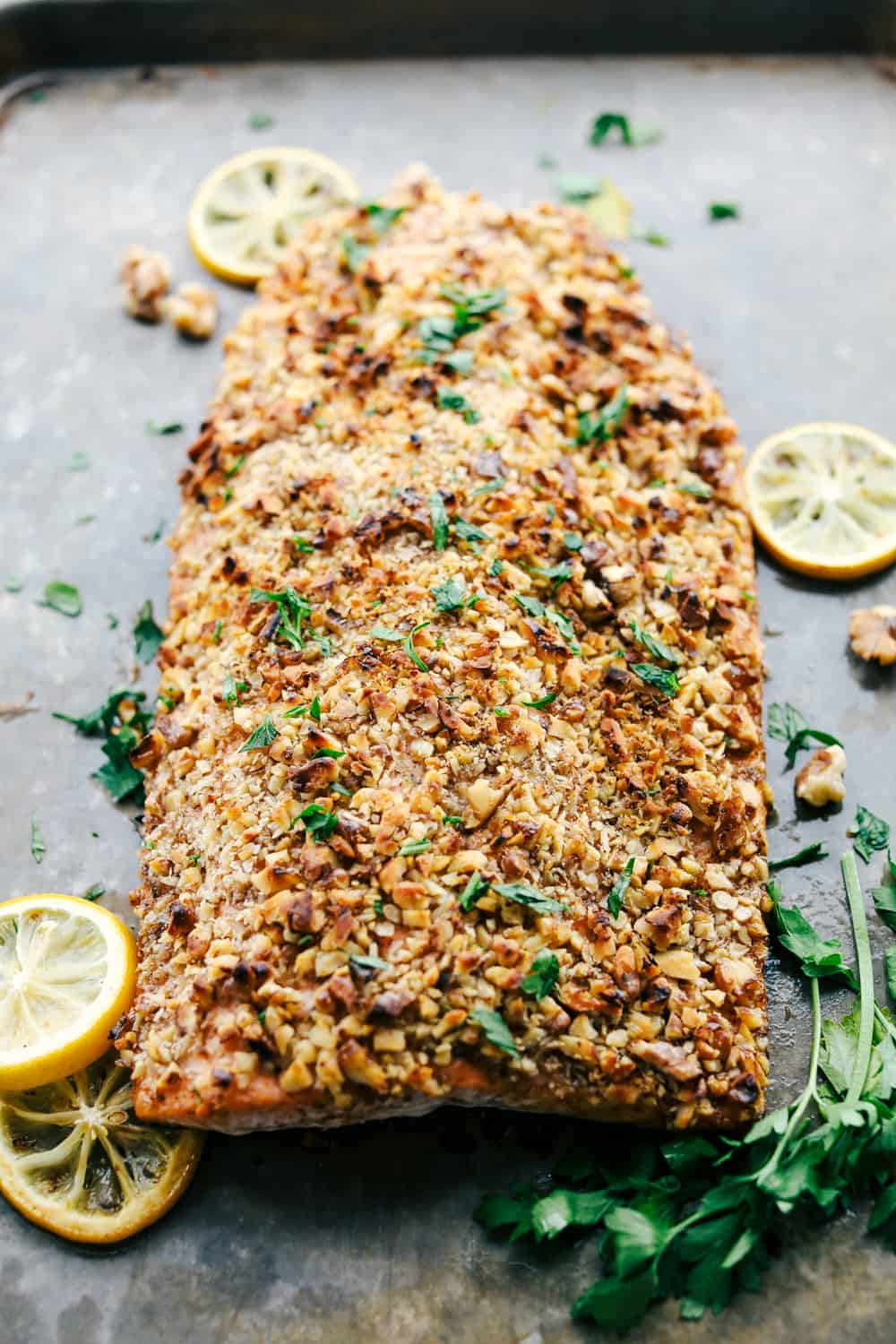Walnut crusted maple salmon baked