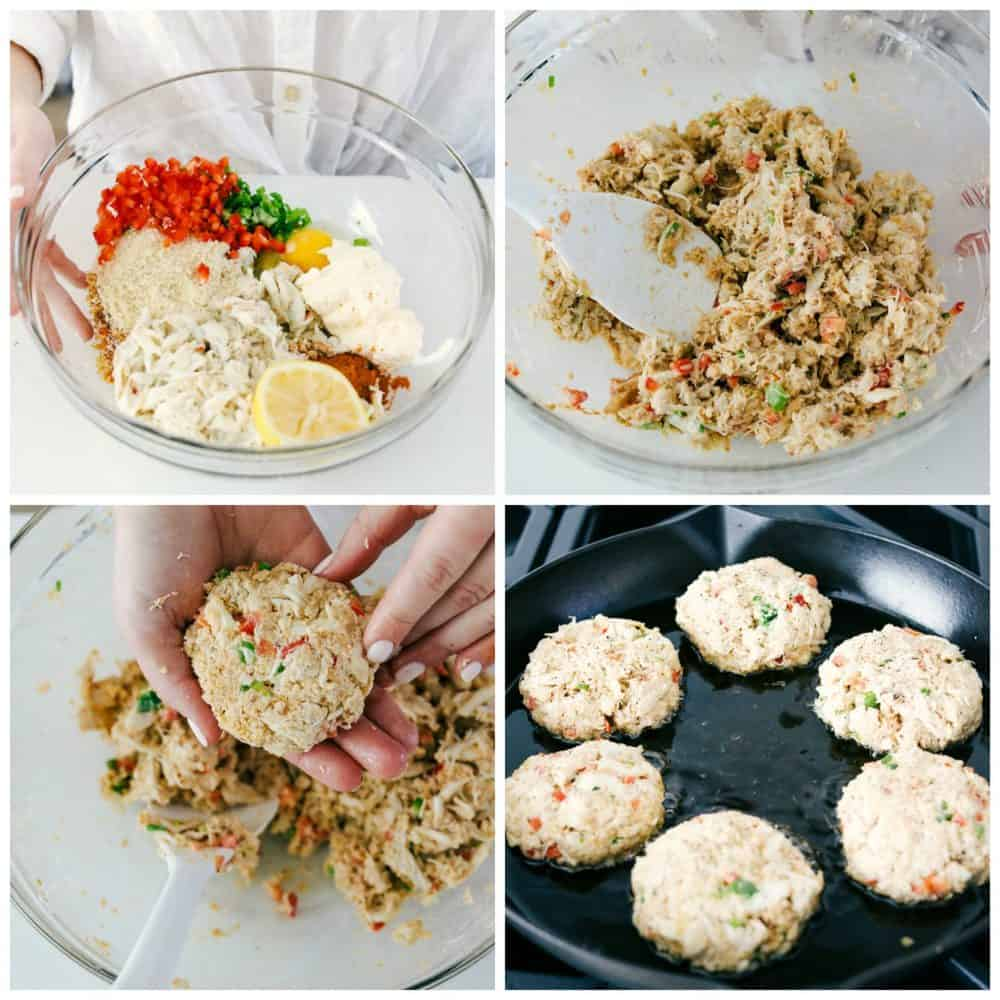 The process of making crab cakes from beginning to end.