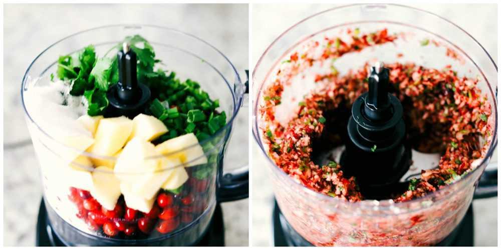 Cranberry salsa ingredients blended together.