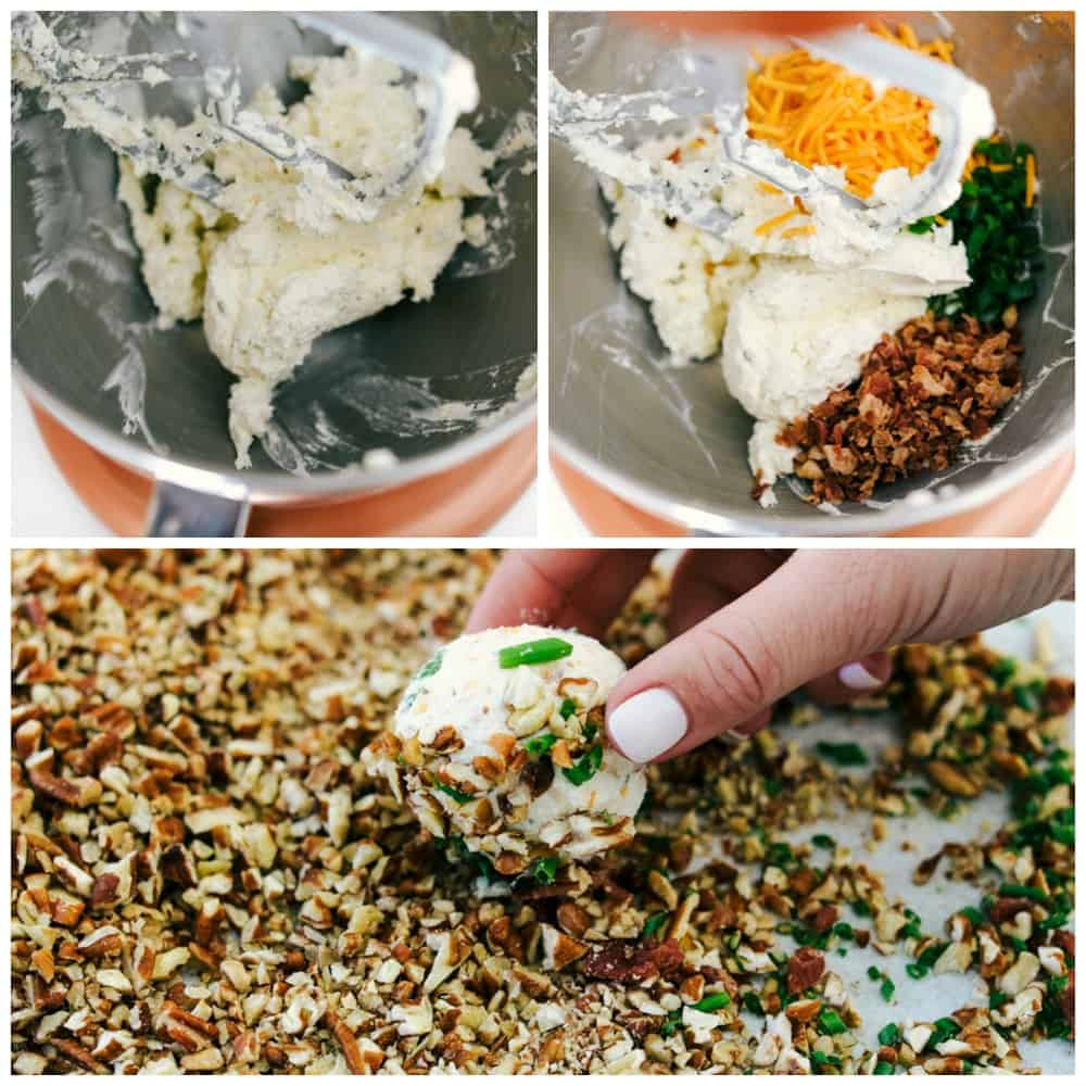 mixing the ingredients together then rolling the cheeseball into the nuts.