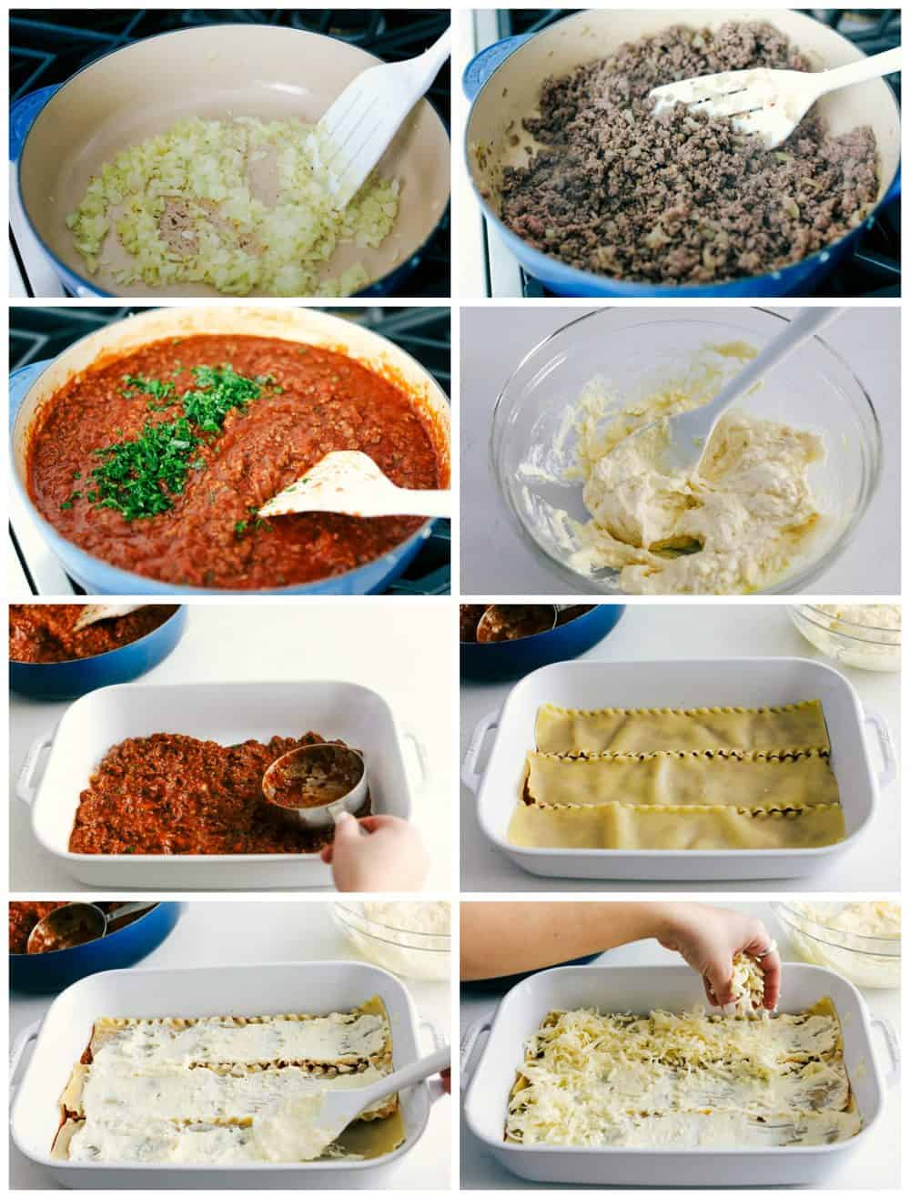 Step by step process of making lasagna