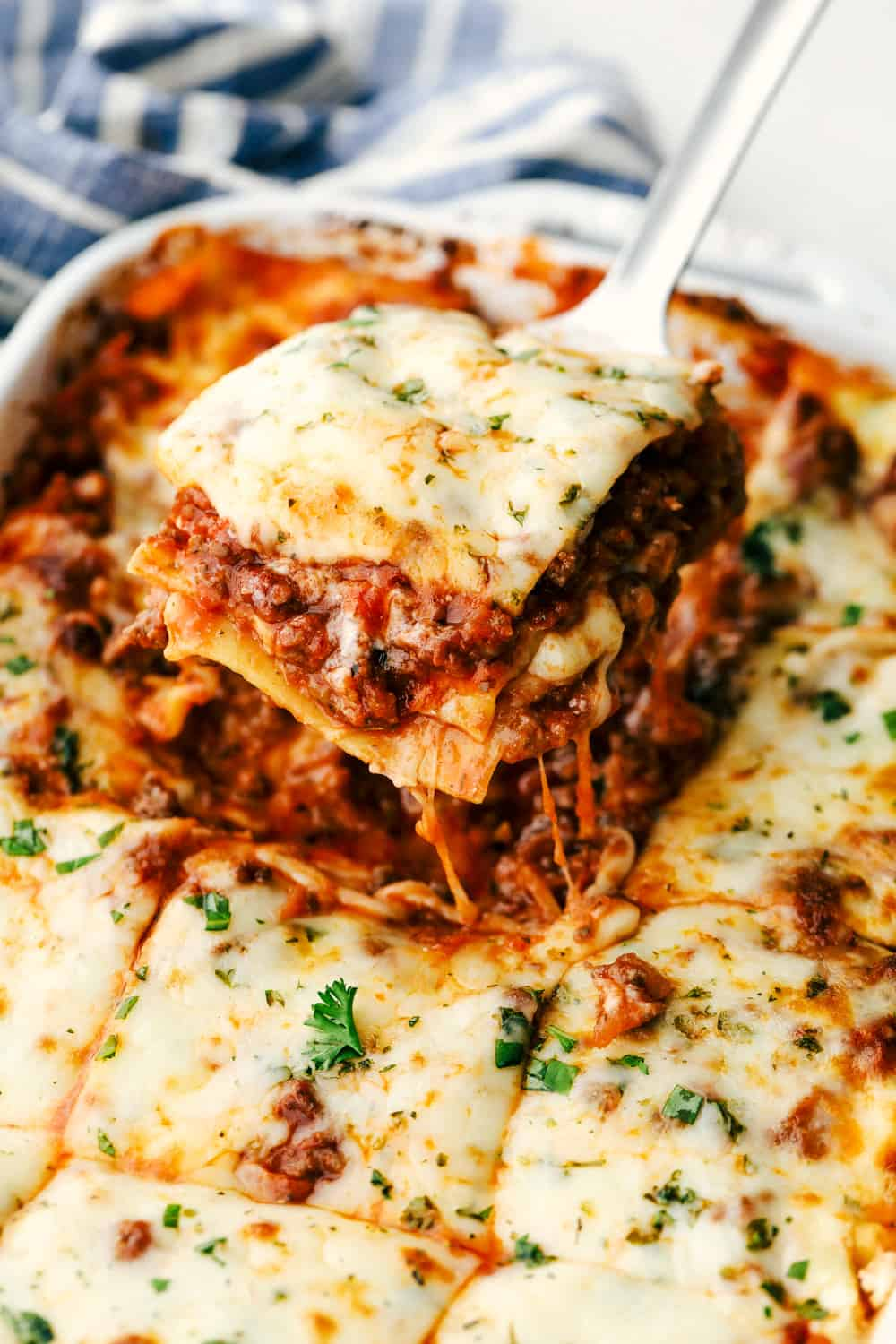 Baked lasagna in a pan