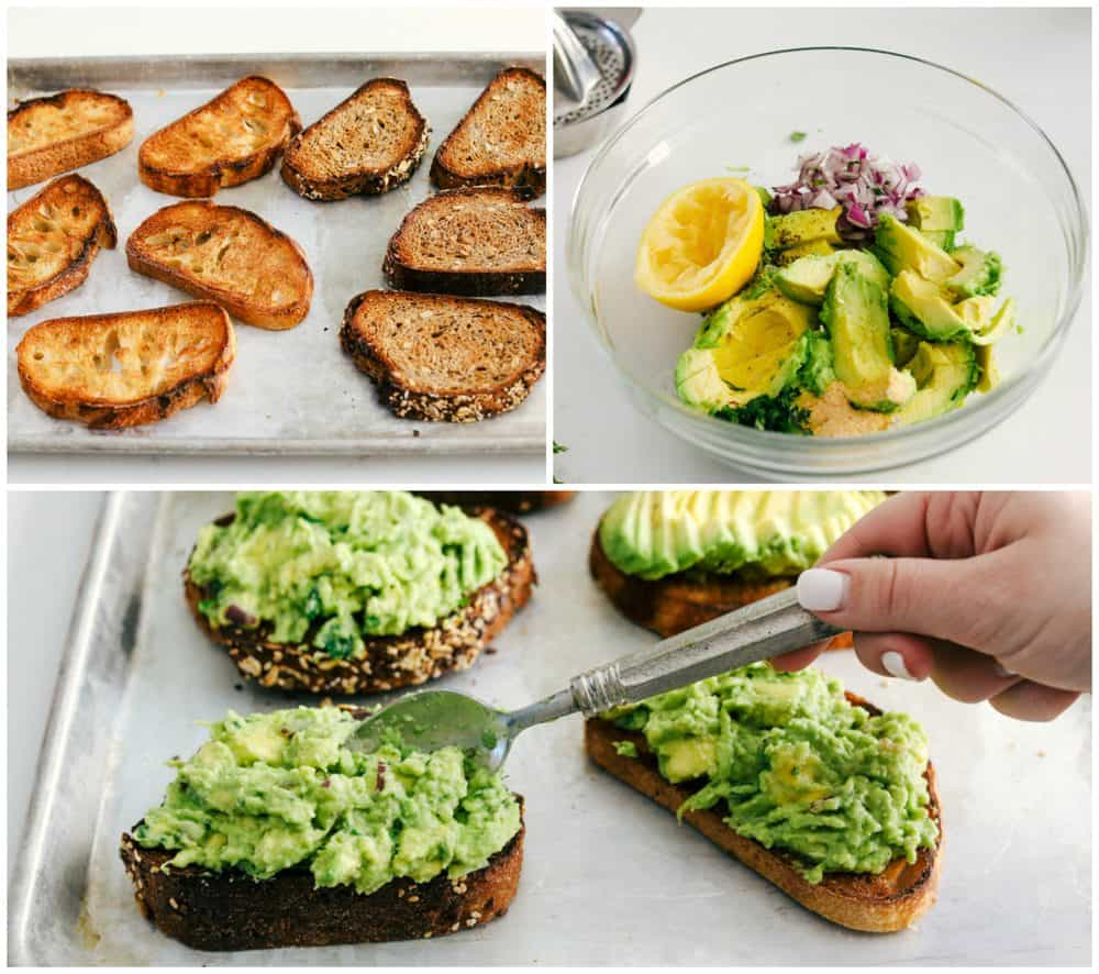 Avocado toast being toasted then mixed together in a bowl and spread over top the toasted bread.