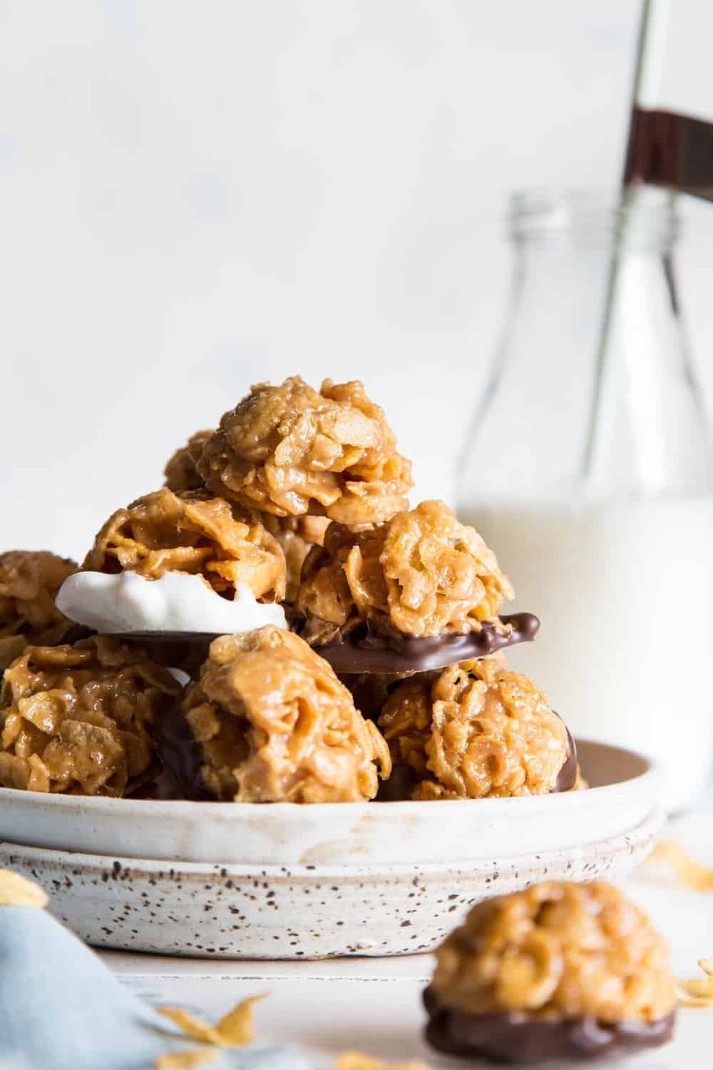 Peanut butter cornflake cookies on a plate