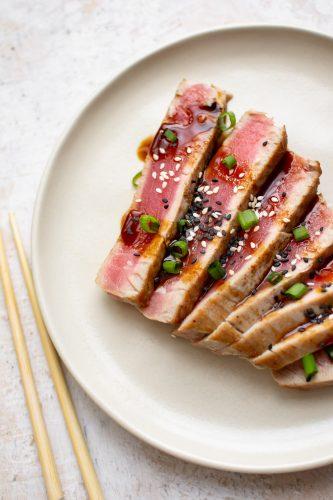 seared ahi tuna cut up and plated