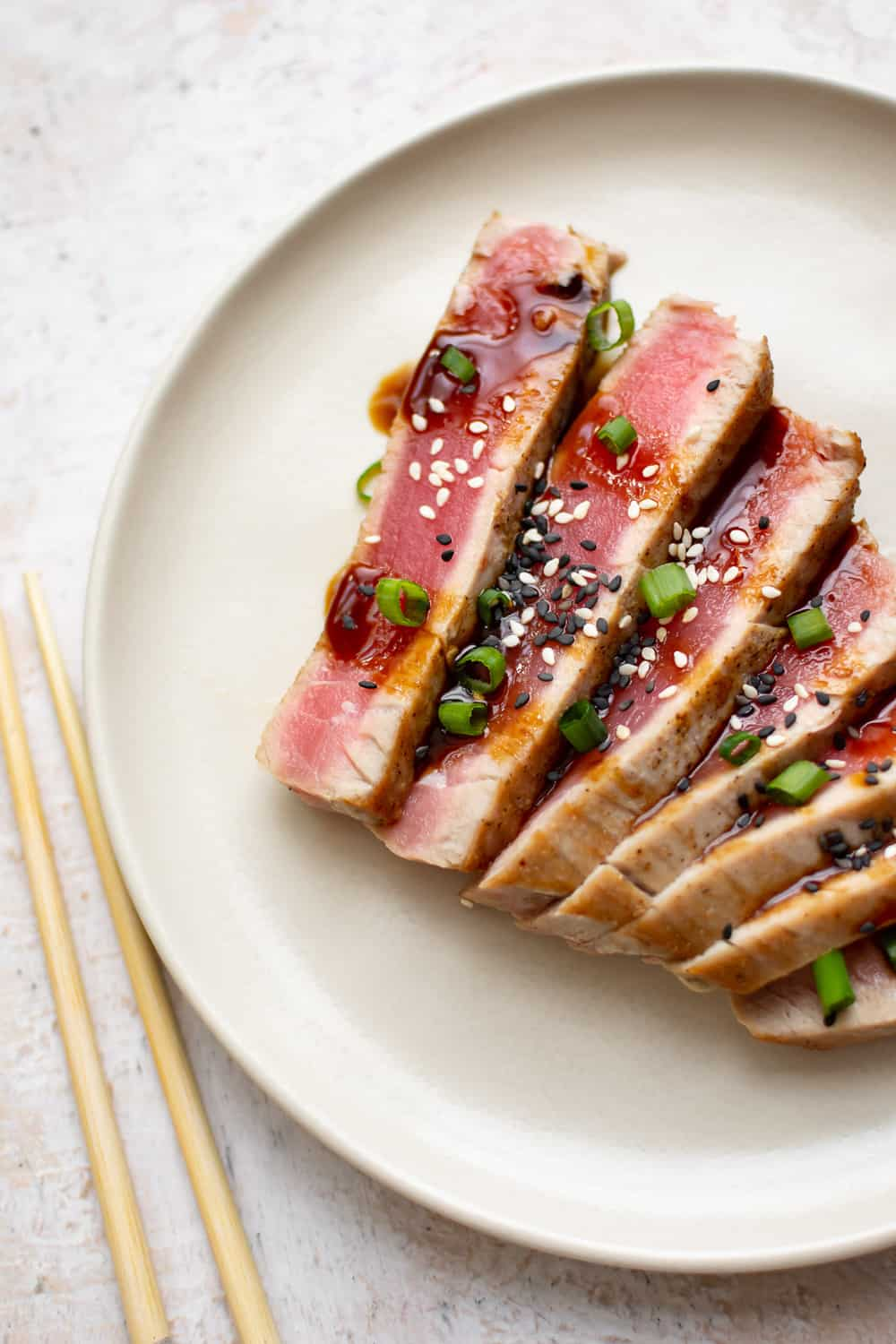 seared ahi tuna cut up and plated