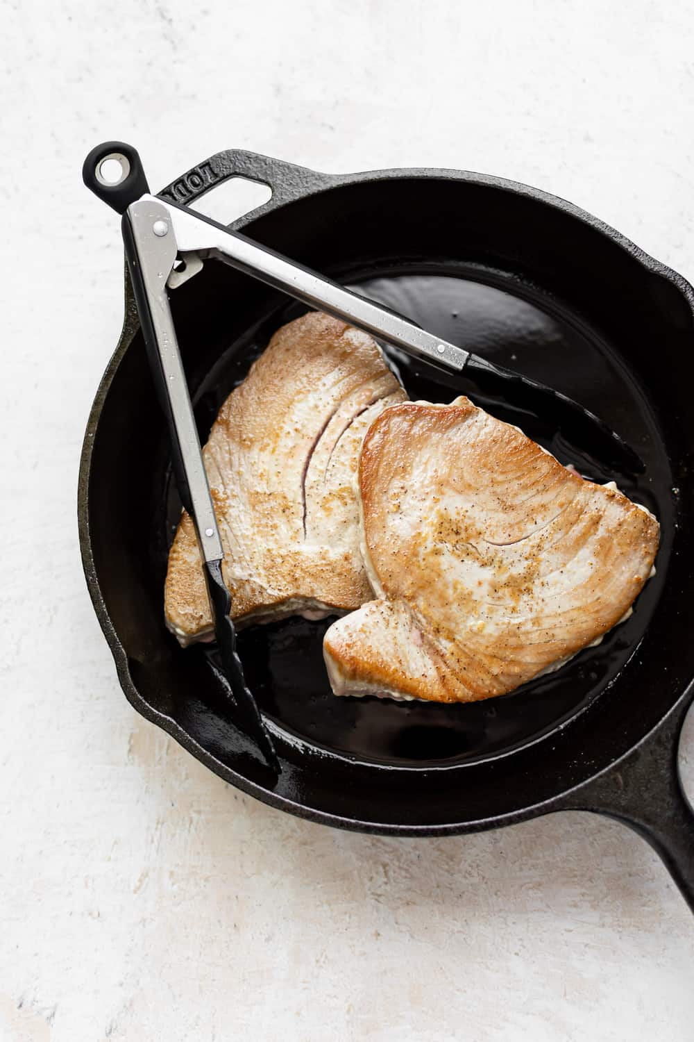 ahi tuna in a skillet