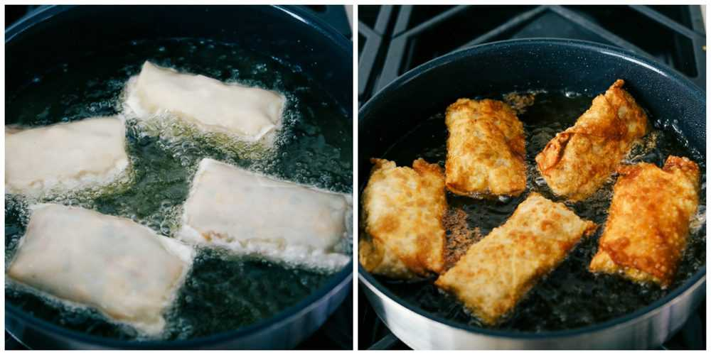 Egg rolls placed in the oil to fry and then flipped to see the crispy outside.