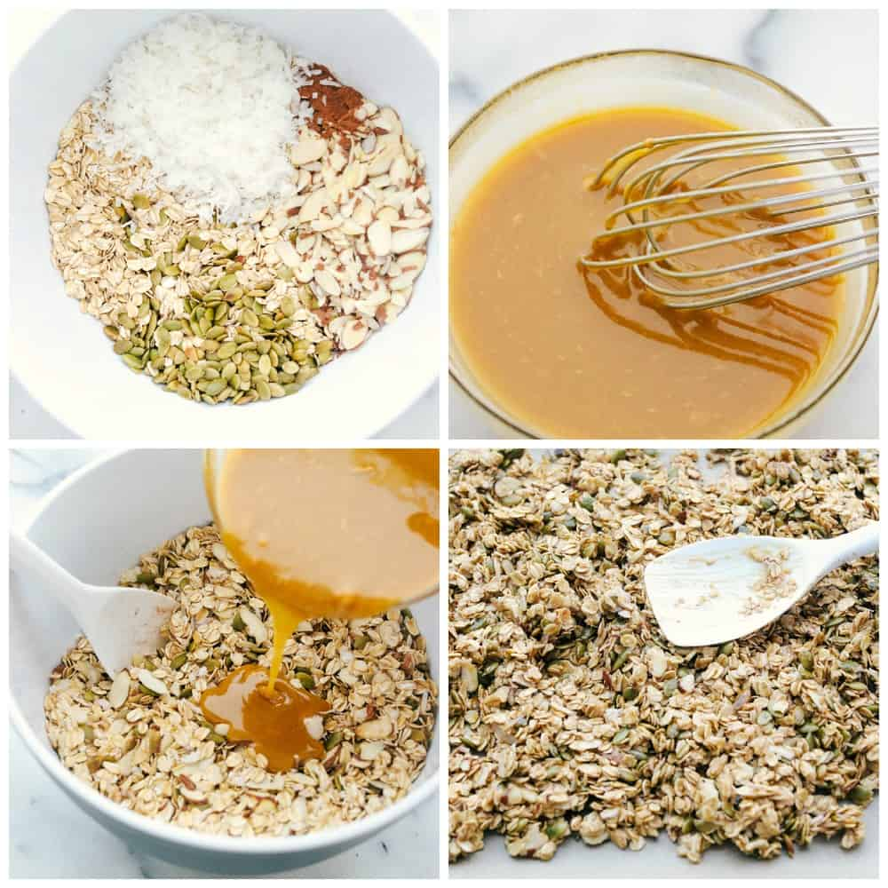 The process of making homemade granola with one bowl all the seeds and nuts then another bowl whisking syrup and peanut butter and pouring it over the granola and spreading it out on a pan.