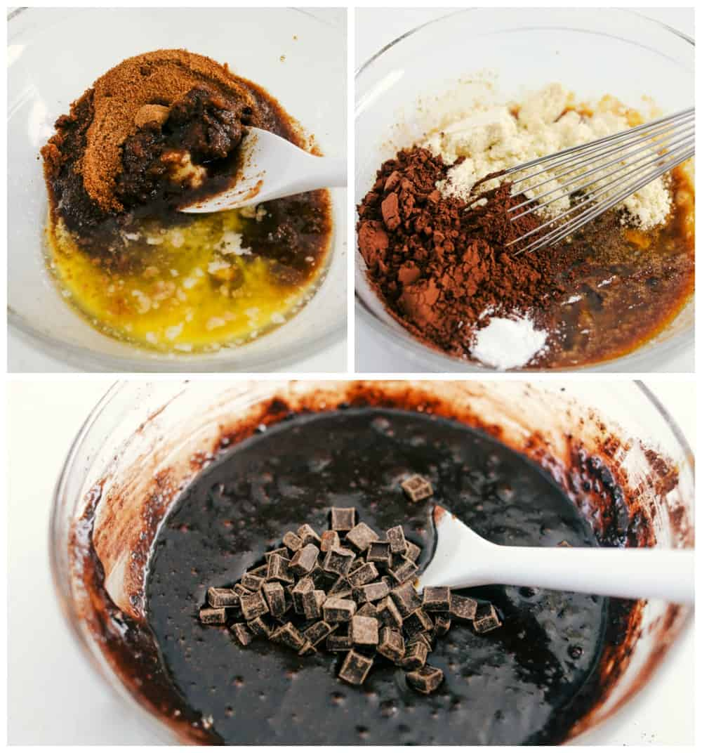 The process of making keto brownie recipe.