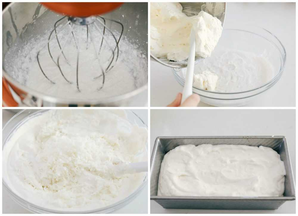 The process of mixing with a KitchenAid then scooping it into a bowl to add in coconut then placing in a freezer pan.