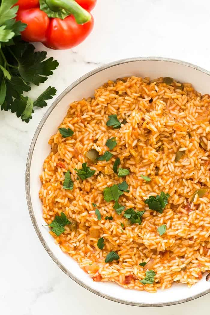 mexican rice in white pan